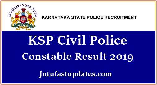 KSP Civil Police Constable Result 2019