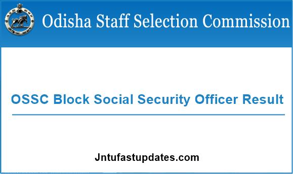 OSSC Block Social Security Officer Result 2019