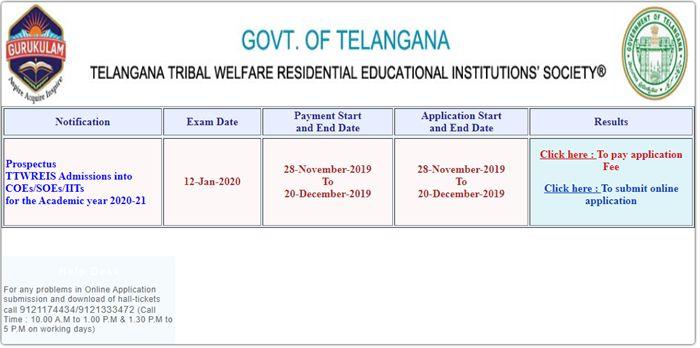 TS Gurukulam Intermediate Admission 2020-21