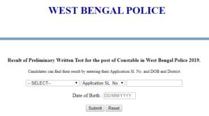 WB Police Constable Result 2019