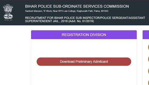 Bihar Police SI Admit Card 2019