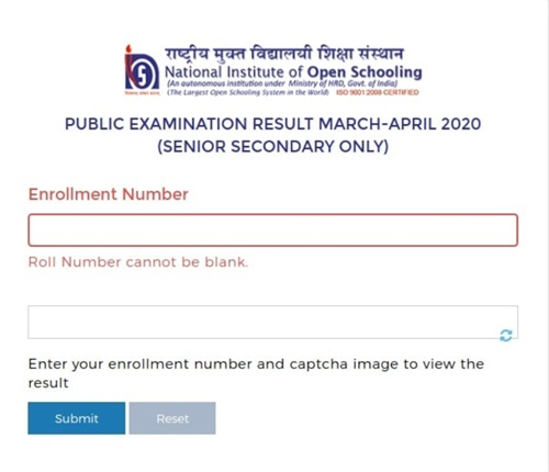 NIOS 12th result 2020