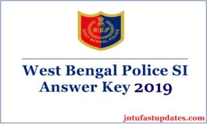 WB Police SI Answer Key 2019