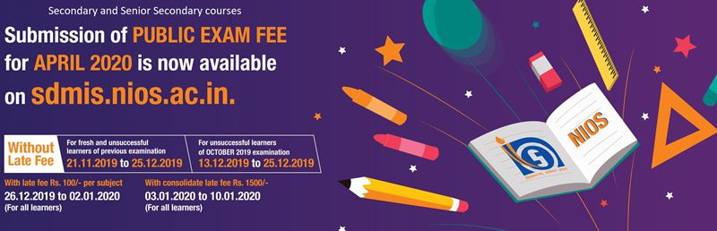 nios 10th-12th Exam Fee_April 2020