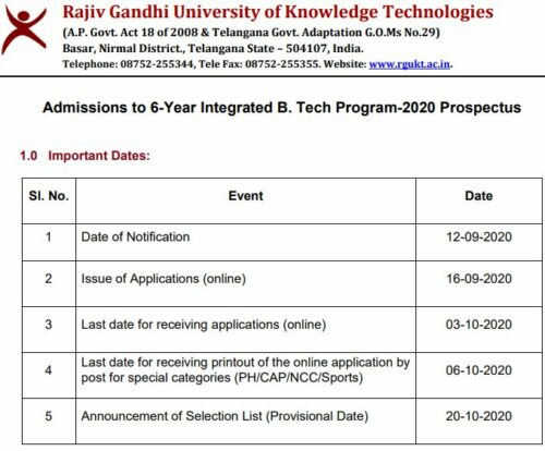IIIT Basara Online Application 2020-21