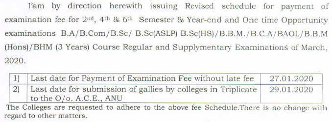 Revised Fee Schedule of U.G.Degree 2,4, & 6 Semesters and Year-end & One time Opportunity Exams, March, 2020