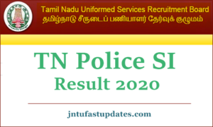 TN police SI Result 2020