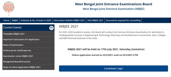 WBJEE Admit Card 2021