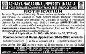 ANU PGCET 2020 Notification