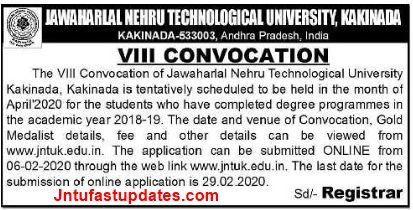 JNTUK Convocation 2020 Notification