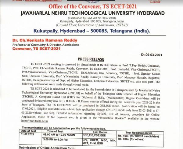 TS ECET 2021 Notification