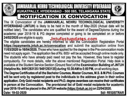 jntuh 9th convocation notification 2020