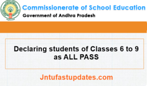 Declaring students of Classes 6 to 9 as ALL PASS