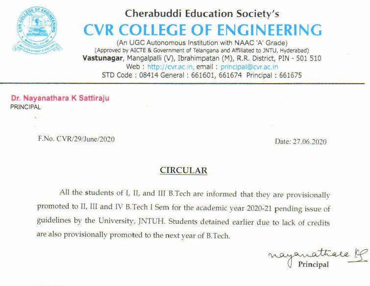 cvr college promotion students