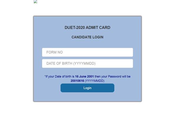 DUET Admit Card 2020