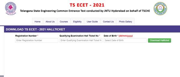 TS ECET Hall Ticket 2021