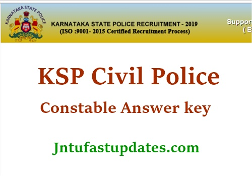 KSP Civil POlice Constable Answer Key 2020