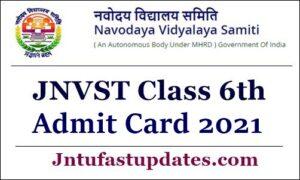 JNVST Admit Card 2021