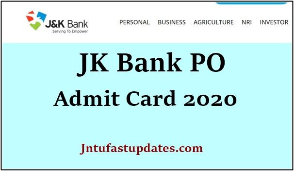 JK Bank PO Prelims Admit Card 2020