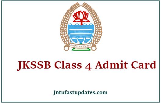 JKSSB Class IV Admit Card 2021