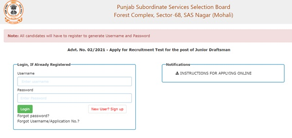 Punjab SSSB Junior Draftsman