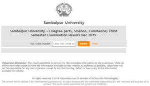 Sambalpur University 3rd Sem Result 2020