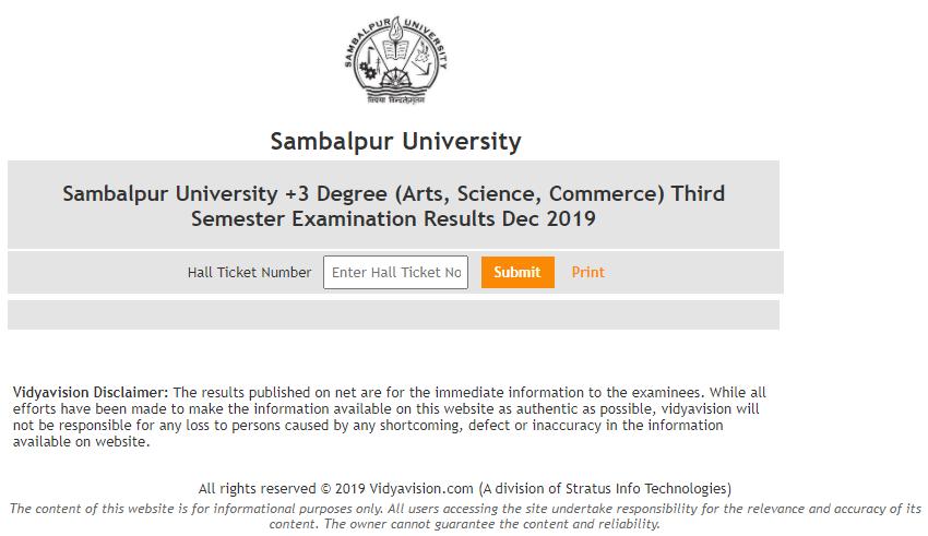 Sambalpur University 3rd Sem Result 2020