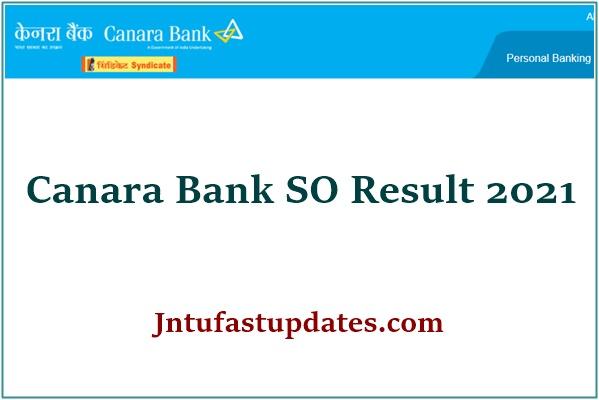 Canara Bank SO Result 2021