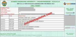 ANU Degree 3rd, 5th Sem Examination Hall Tickets 2021