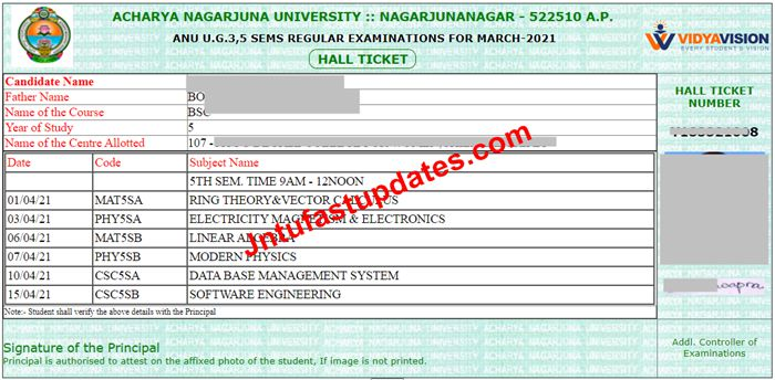 ANU Degree 3rd, 5th Sem Examination Hall Tickets 2021