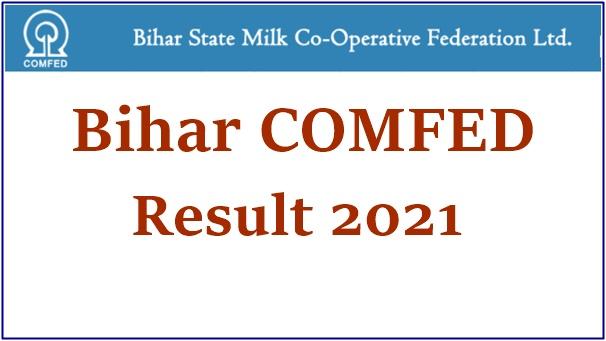 Bihar COMFED Result 2021