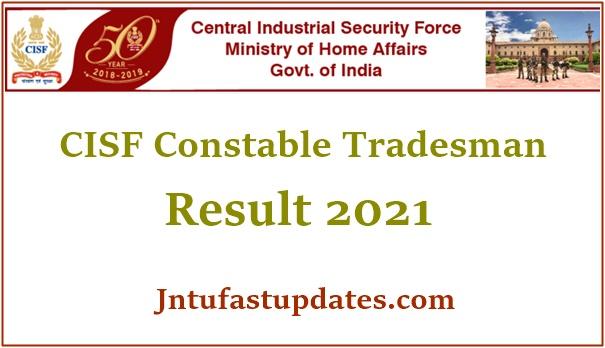 CISF Constable Tradesman Result 2021