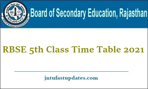RBSE 5th Class Time table 2021