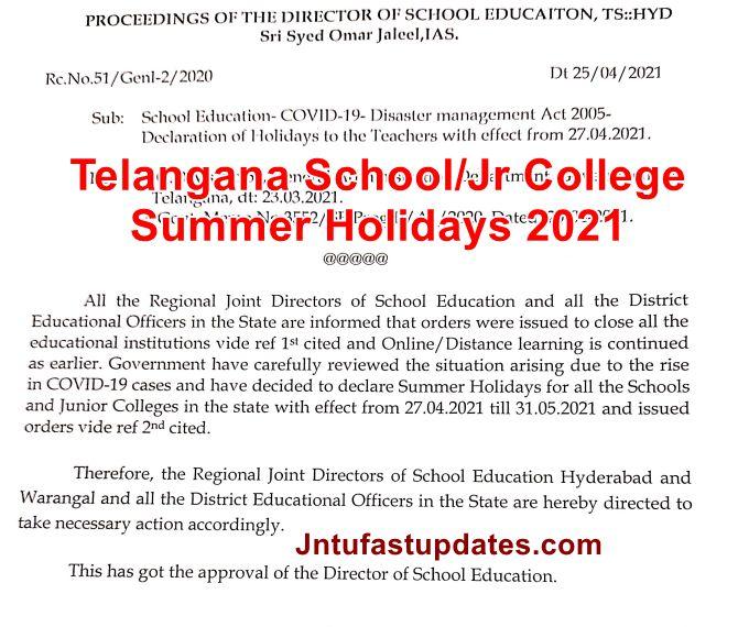 Telangana School-College Summer Holidays 2021