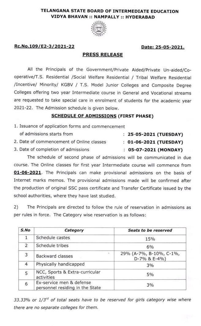 TS Inter Admissions 2021-22
