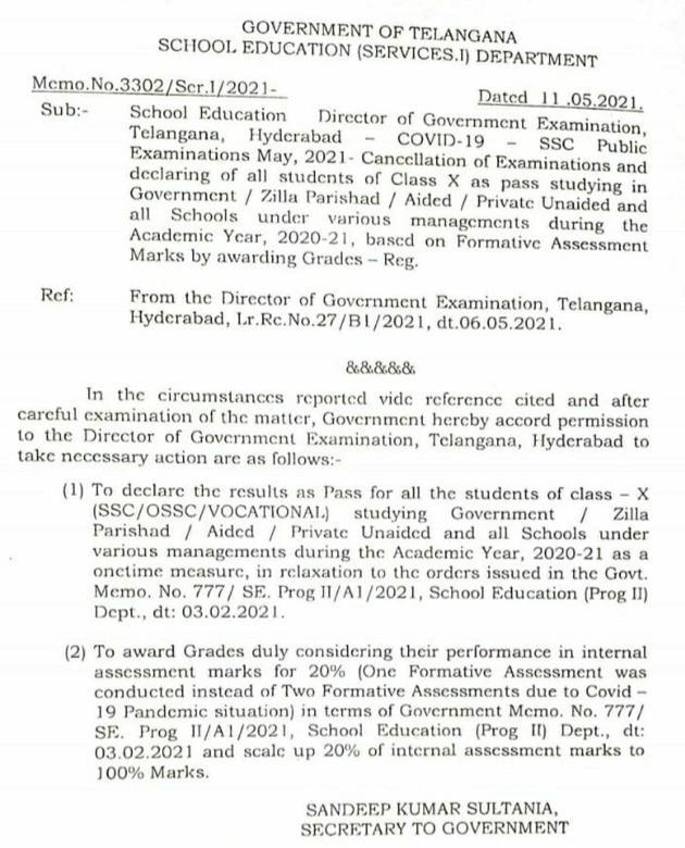 Telangana 10th Class Results 2021 Date