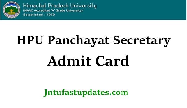 HPU Panchayat Secretary Admit Card