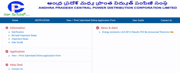 APCPDCL Energy Assistant Result 2021