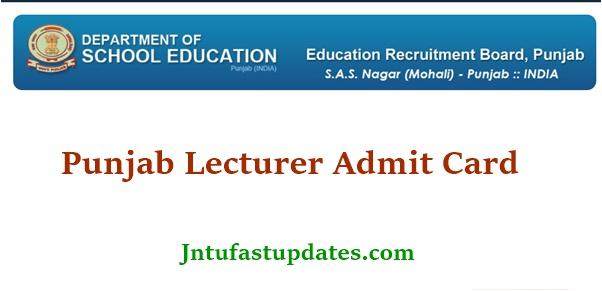 Punjab Lecturer Admit Card 2021