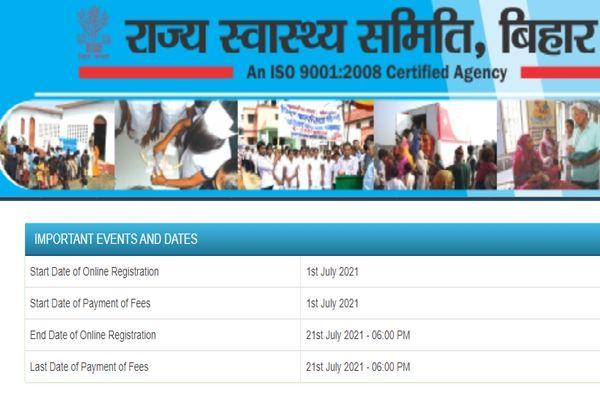 SHSB Bihar ANM Application Form 2021