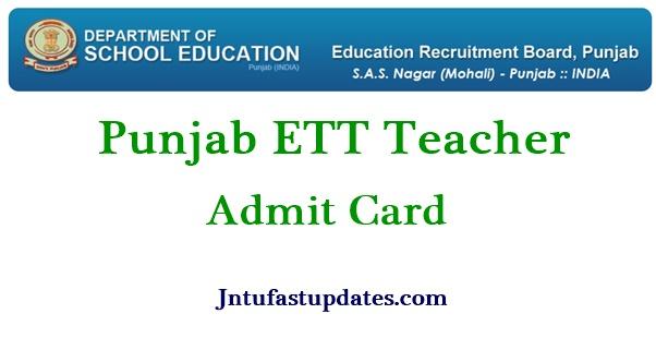 Punjab ETT Teacher Admit Card 2021