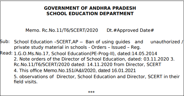 AP Ban of using Guides and unauthorizedPrivate study Material in schools