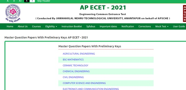 Ap ECET Answer key 2021