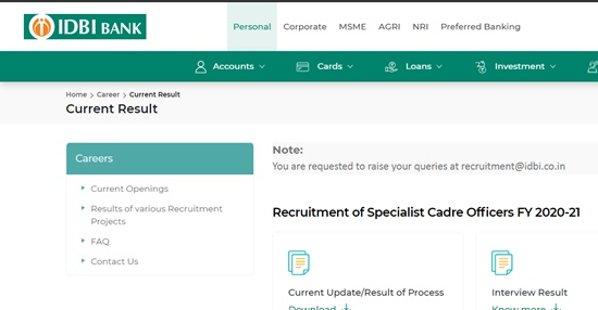 IDBI Assistant Manager Result 2021