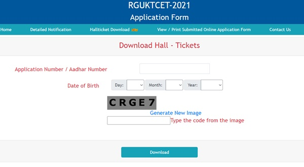 RGUKT CET Hall Ticket 2021